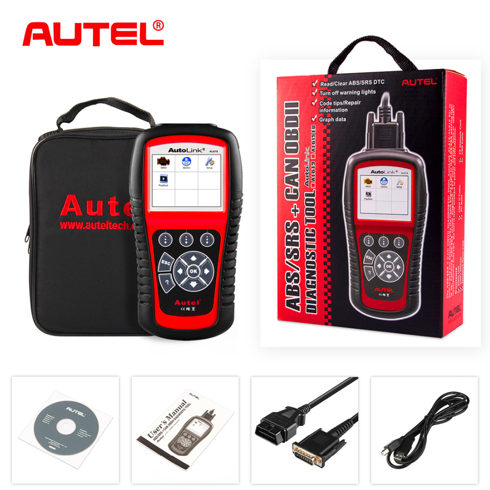 Autel Autolink AL619 Diagnostic Tool Scanner OBDII Car Code Reader Automotive Code reader Scanner with ABS/SRS Diagnostic Tool u280 1 5 lcd vw audi car diagnostic code reader memo scanner