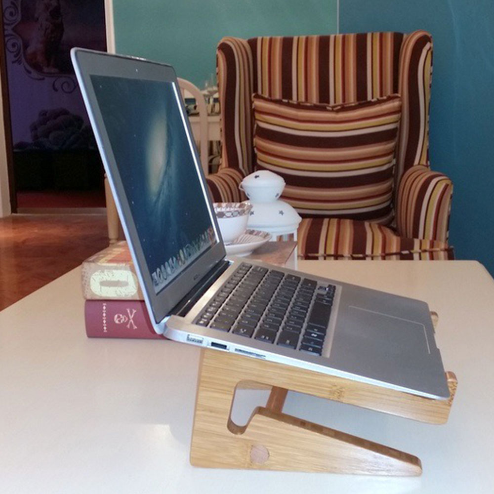 Universal Detachable Wooden Bamboo Mount Holder Cradle Desktop Stand for Laptop