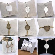 4 шт./лот, различные стили, браслеты для браслетов, пустые кабошон, базовые лотки для женщин, сделай сам, ювелирное изделие