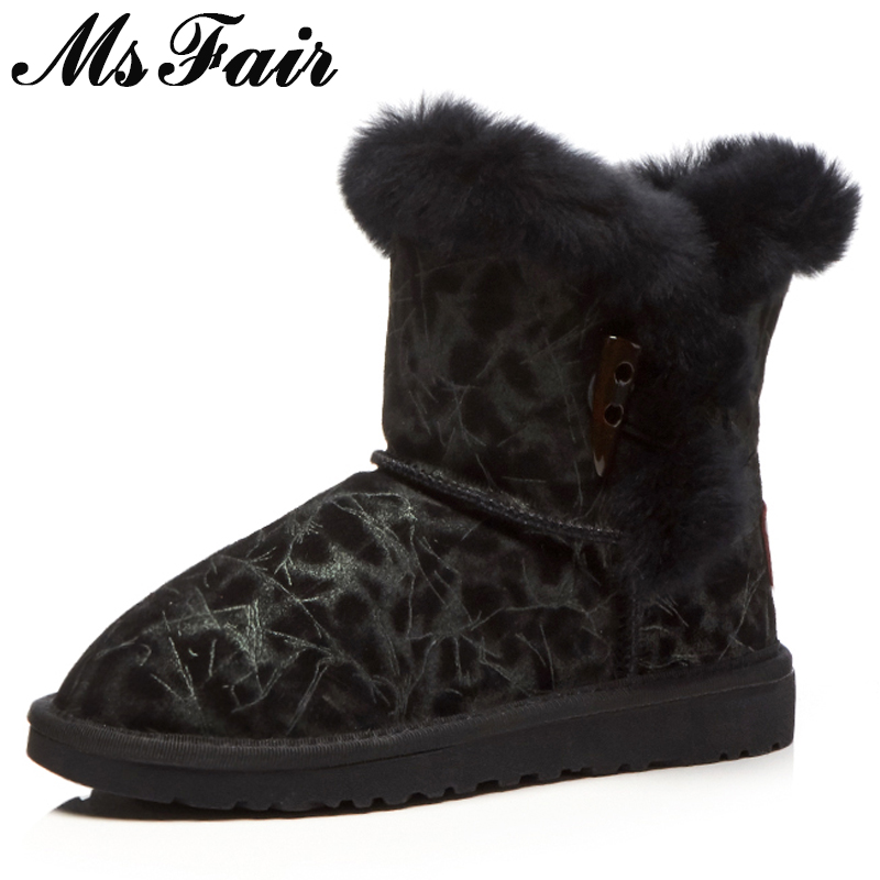 MSFAIR Women Snow Boots Mixed Colors Round Toe Flat Heel Ankle Boots Women Shoes Winter Wool Keep Warm Cotton Boots For Girl fashion keep warm winter women boots snow boots 2017 buckle cotton boots women boots shoes