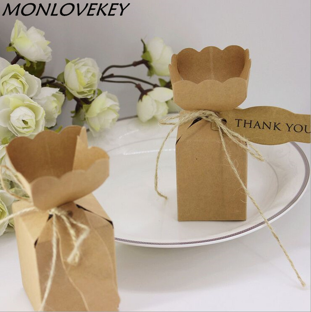 50pcs kraft paper vase flower candy chocolate box with thank you tag 50pcs kraft paper vase flower candy chocolate box with thank you tag boxes for wedding party mightylinksfo