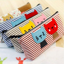 1x lovely The kitten Canvas pen bag pencil kawaii stationery case canvas school supplies Matita Pencil