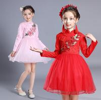 2 12 Years Autumn Girls Chinese Cheongsam Embroidered Dress Kids Wedding Birthday Party Lace Tulle Dresses