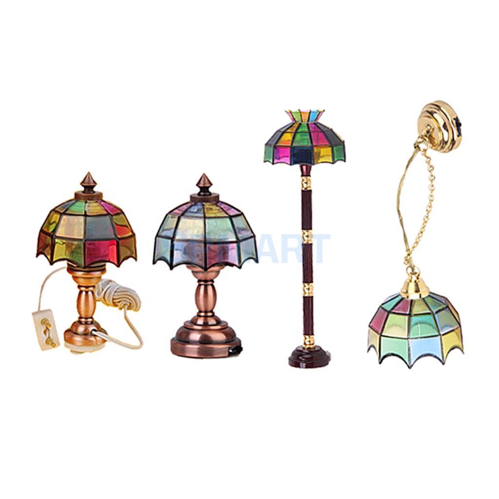 4 Set 12th Miniature LED Light Floor/Table/Ceiling Lamp Dollhouse Room Life Scenes Lighting Accessory Decor