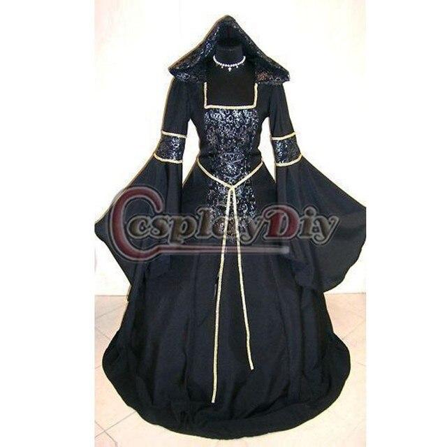 Custom Made Средневековый Готический Ведьма Черный Mittelalter Вампир Одеяние С Капюшоном Костюм D1124