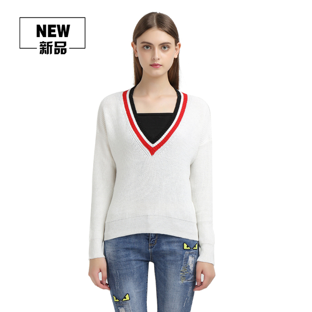 ee7ec159fe86 Female Fashion Deep V Neck Cashmere Sweater Women Red White Loose Knittted  Sweaters And Pullovers Trendy Tops Warm Jumpers