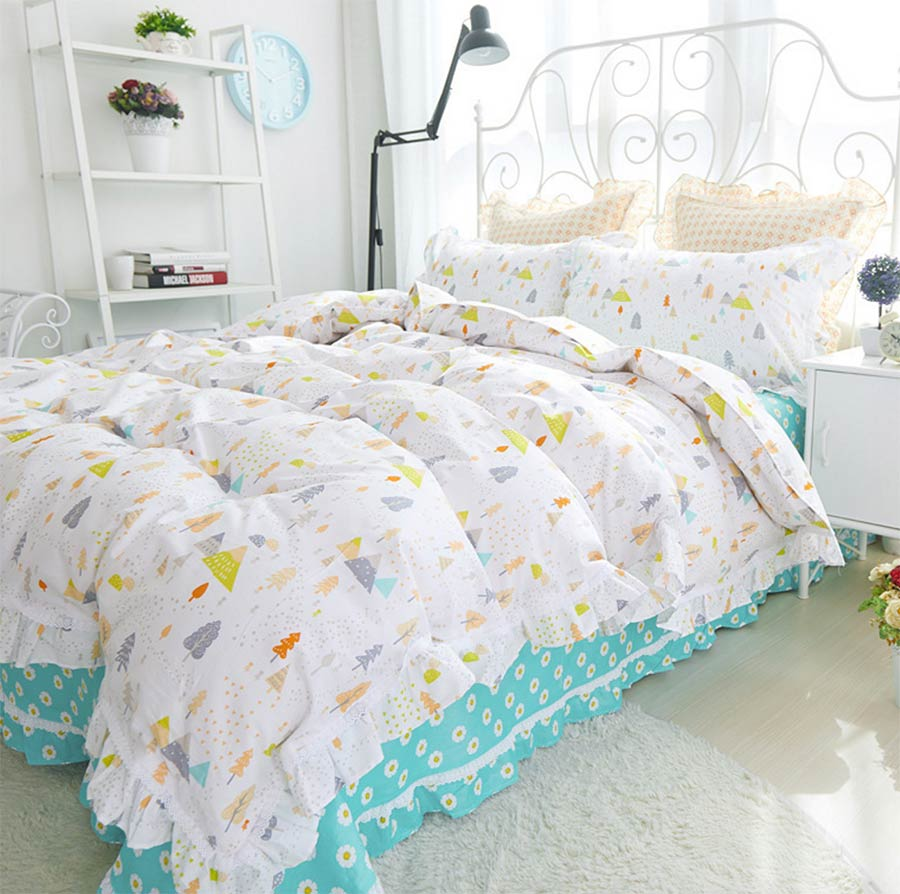 Bed sheet set with quilt - Pastoral Colorful Tree Bed Set Child Teen Twin Full Queen Cotton Single Double Bed Clothes Pillow Cases Flat Sheet Quilt Cover