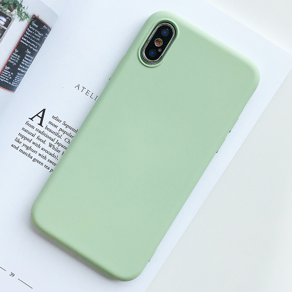 KIPX1124E_1_JONSNOW Pure Color Silicone Case for iPhone XS XR XS Max 6 6S 6P 7 8 Plus Ultra-thin Matte Dirt-resistant Soft TPU Solid Cover