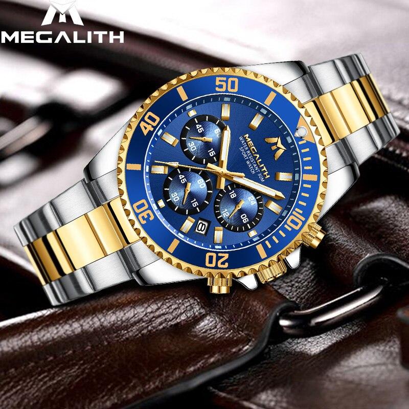 MEGALITH Luxury Mens Watches Sports Chronograph Waterproof Analog 24 Hour Date Quartz Watch Men Full Steel Wrist Watches Clock 1