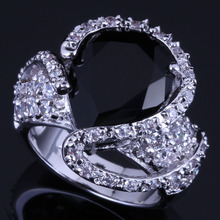 Amazing Big Water Drop Black Cubic Zirconia White CZ 925 Sterling Silver Ring For Women V0569