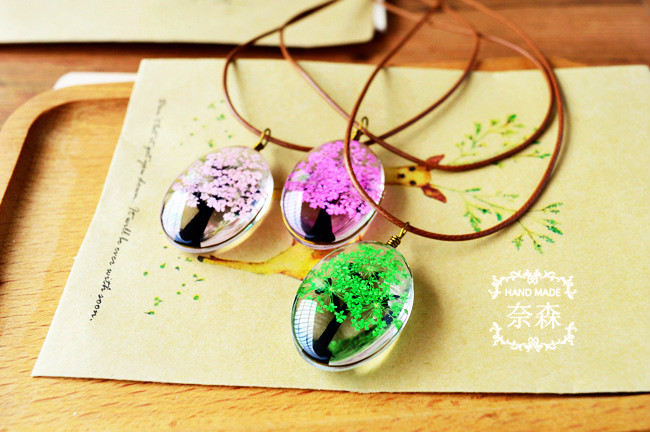 HTB1aZQ.QXXXXXc0XVXXq6xXFXXXf - Handmade Natural Dry Flowers Life Tree Long Necklaces & Pendants