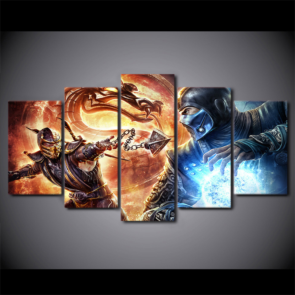 2017 JIE DO ART 5 Paintings Wall Art Modern Abstract Print Mortal Kombat Pictures WallArt Painting War PicturesBedroom Home Deco
