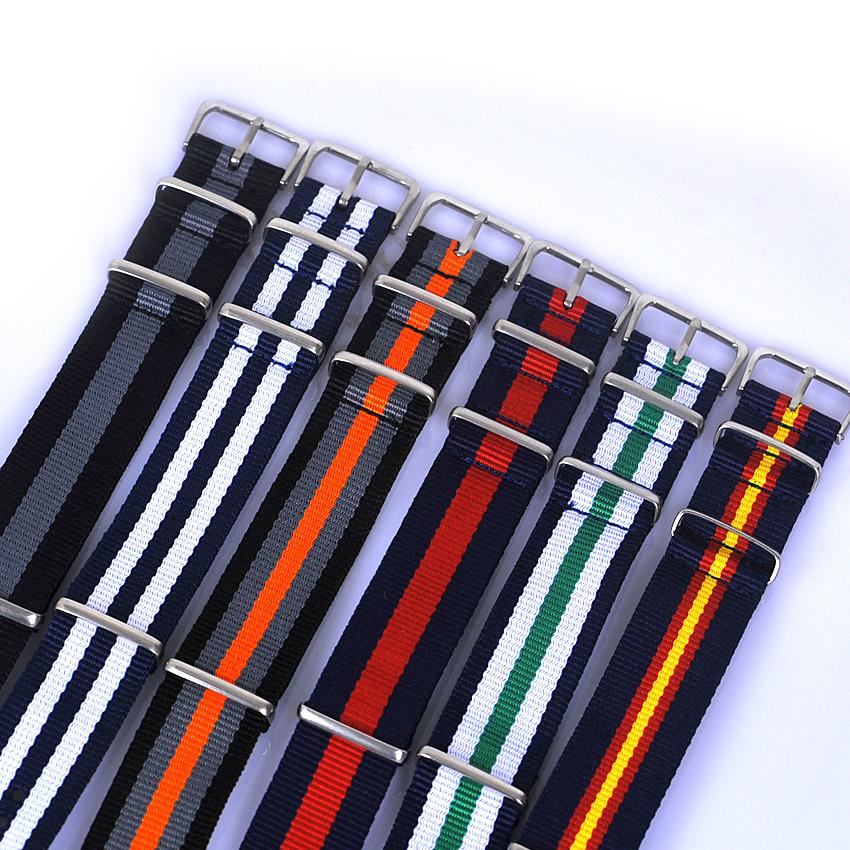 Prix pour HOTSALE 5 pcs/lot 20 MM nylon bracelet avec boucle en acier. Sangles imperméables, sport poignet montre NATO bande Multi couleur pour choisir