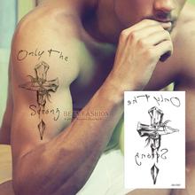 Temporary Tattoos Neck Back Cross 3D Men Arm Shoulder Fake Spray Transfer Sexy Tattoo Stickers Waterproof Beckham Style QS-C007