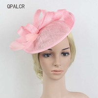 QPALCR Fascinator Pillbox Hat Ladies Royal Wedding Races Sinamay Hat Cocktail Women Linen Feather Hat Party Fedora Cap Headwear