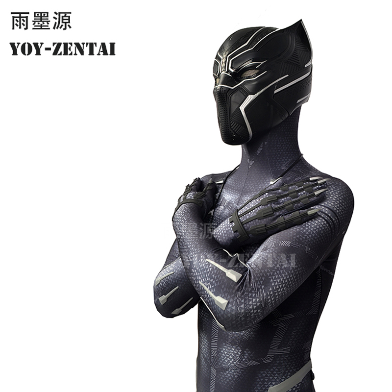 YOY-ZENTAI-4 High Quality 2018 Black Panther Suit With Details Avengers Black Panther Cosplay Costume With Necklace Paw