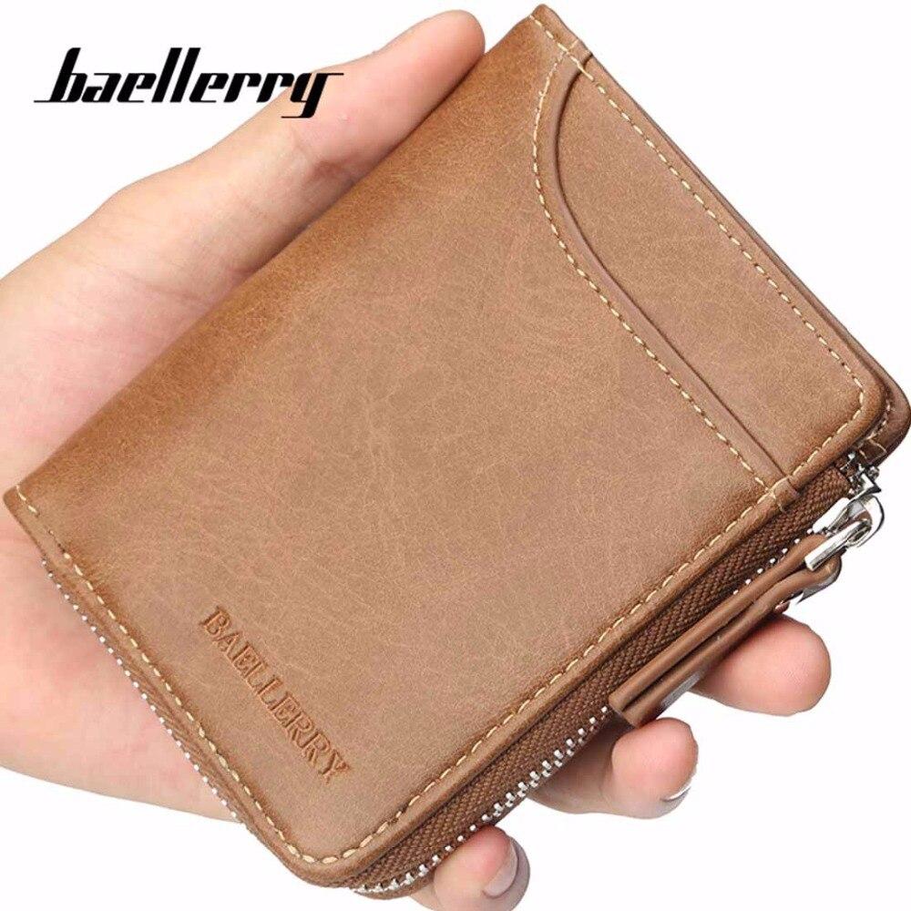 2018 Baellerry PU Men Wallets Zipper Card Holder Sample Solid Men Leather Wallet Coin Pocket High Quality Male Purse cartera