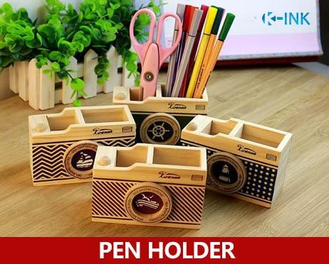 Creative Wooden Camera Shaped Pencil Holder as Desk Organizer