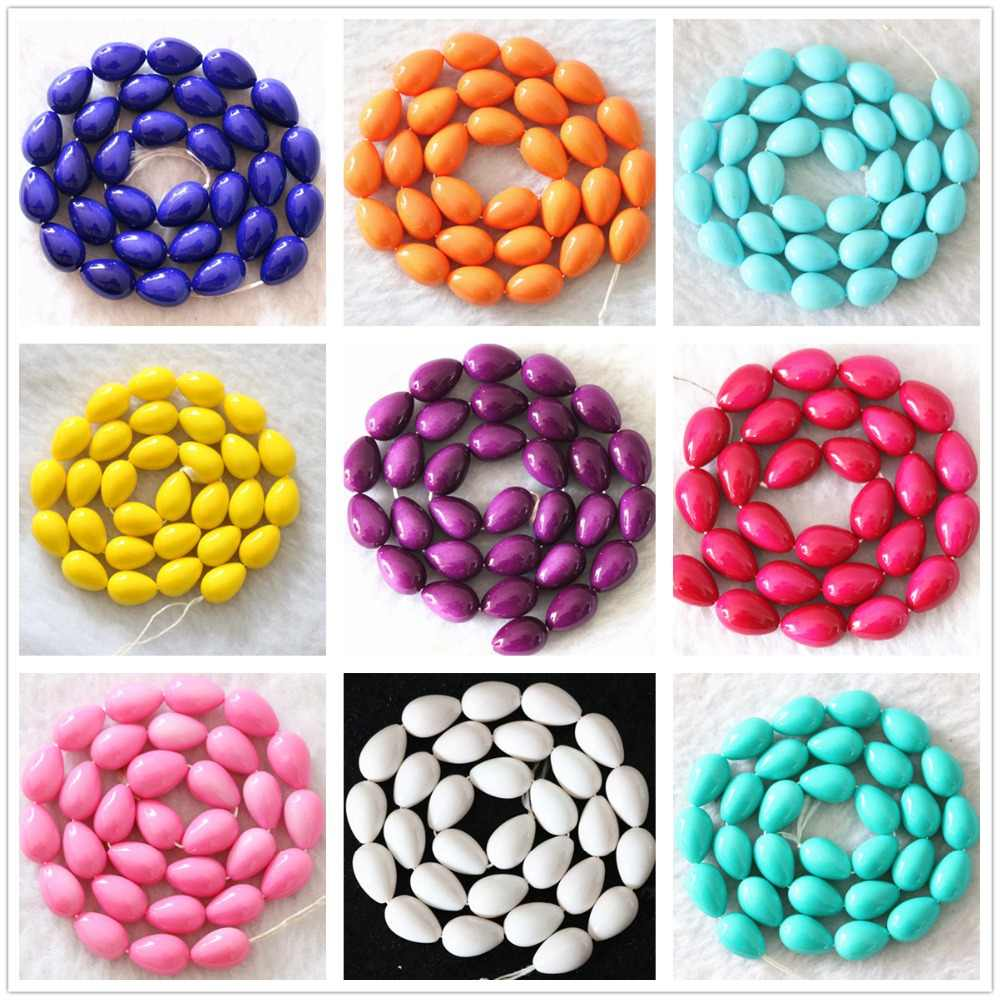Lovely teardrop waterdrop baking paint 9x13mm glass colorful jewelry making loose beads spacer accessories findings 15inch B1086