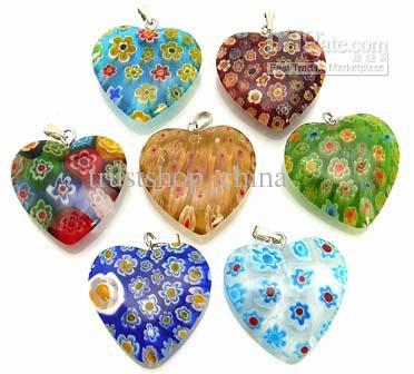 Millefiori glass heart pendants beads lampwork pendant mixed colors millefiori glass heart pendants beads lampwork pendant mixed colors delivery 60pcslot aloadofball Gallery