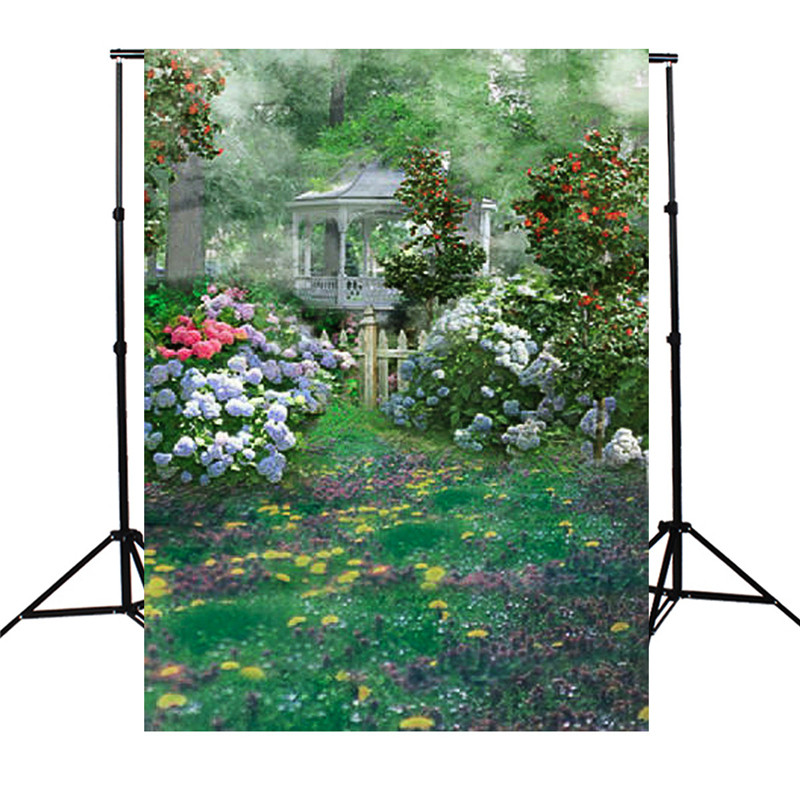 5x7ft Garden Flowers Green Grass Photography Background For Studio Photo Props vinyl Photographic Backdrops 1.5x 2.1m cloth shengyongbao 300cm 200cm vinyl custom photography backdrops brick wall theme photo studio props photography background brw 12