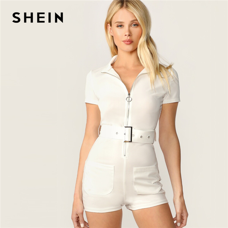 SHEIN Elegant White O-ring Zip Front Adjustable Belted Skinny Romper Womens   Jumpsuit   2019 Summer Solid Leisure Playsuit Rompers