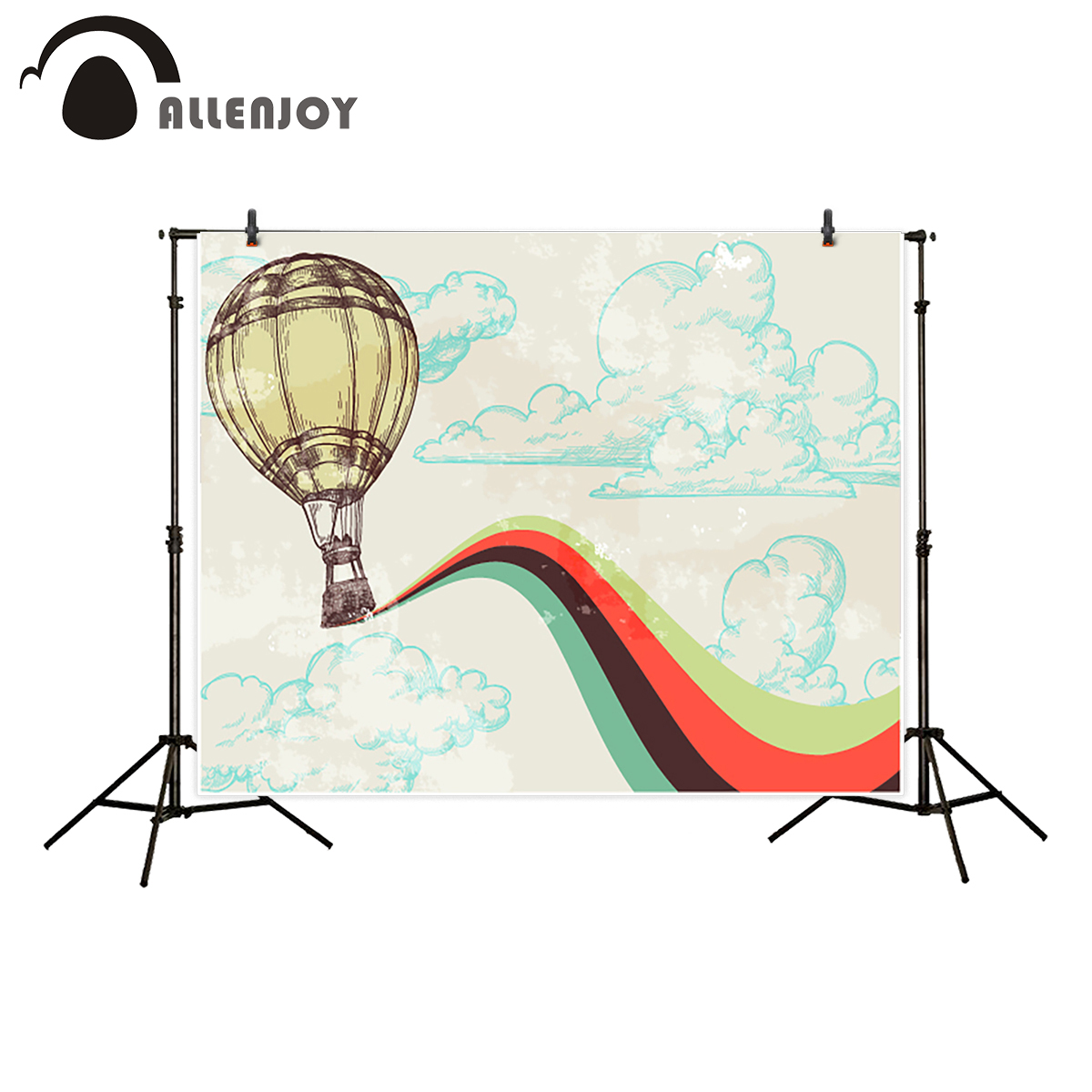 Allenjoy photography backdrop hot air balloon travel cloud rainbow background photo studio customize photocall photo prop allenjoy photography background lovely clouds cotton hearts stars rainbow backdrop photo studio camera fotografica