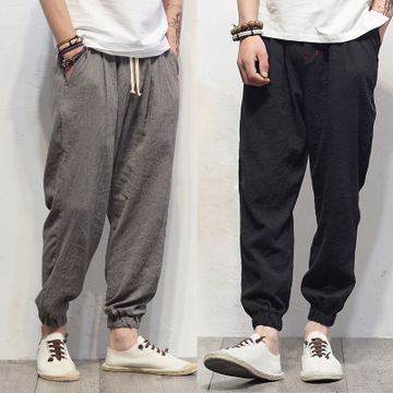 Plus Size Cotton Linen Harem Pants Mens Jogger Pants New Male Casual Track Pants Trousers Hip Hop Loose Chinese Traditional
