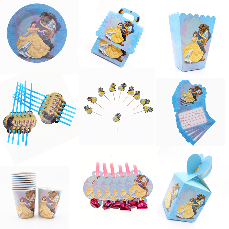 Beauty And The Beast Birthday Party Decoration Kids Girl Party Disposable Tableware Set Supplies Cup Napkins Favor