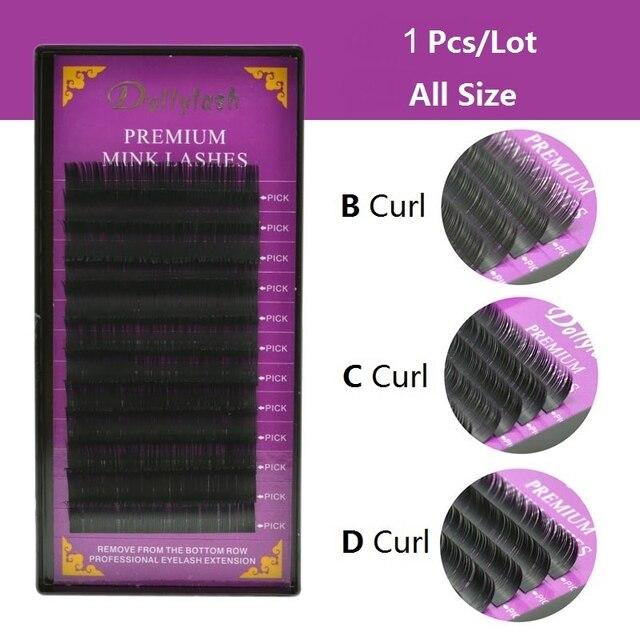 Dollylash 12 linhas individual natural premium falso vison cílios para profissionais maquiagem cílios extensão de fibra frete grátis