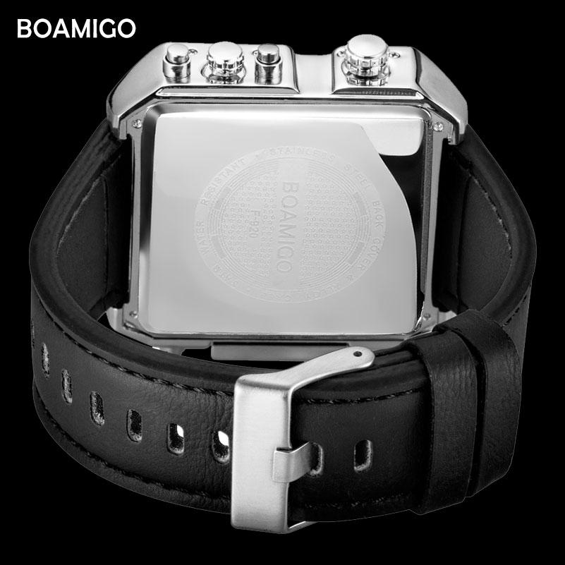 Marka boamigo mężczyźni sport zegarki 3 strefa czasowa big man moda wojskowy zegarek led skórzane zegarki kwarcowe relogio masculino 3