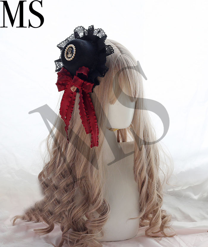 Black Cat Furry Ear Lace Ribbon Bowknot Star Headdress Headband KC Lolita Women
