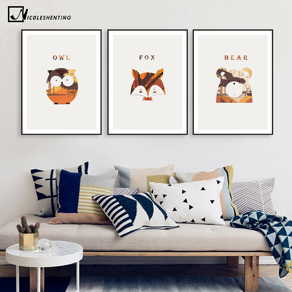 Online-Shop Nordic Kunst Tier Fox Bär Eule Leinwand Poster ...