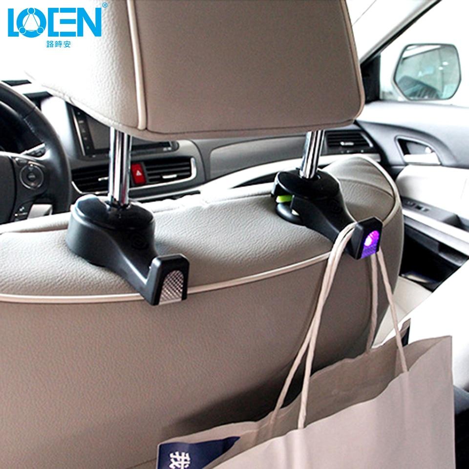 black Latest Technology 2pcs Creative Adjustable Car Seat Back Headrest Hooks Grocery Bag Hanger Holder For Car Seat Organizer