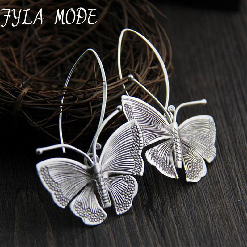 2018 New Hot Fashion Fine Excellent Jewelry Thai Silver Butterfly Old Silver Color Brincos Drop Earrings For Women Ladies Gift