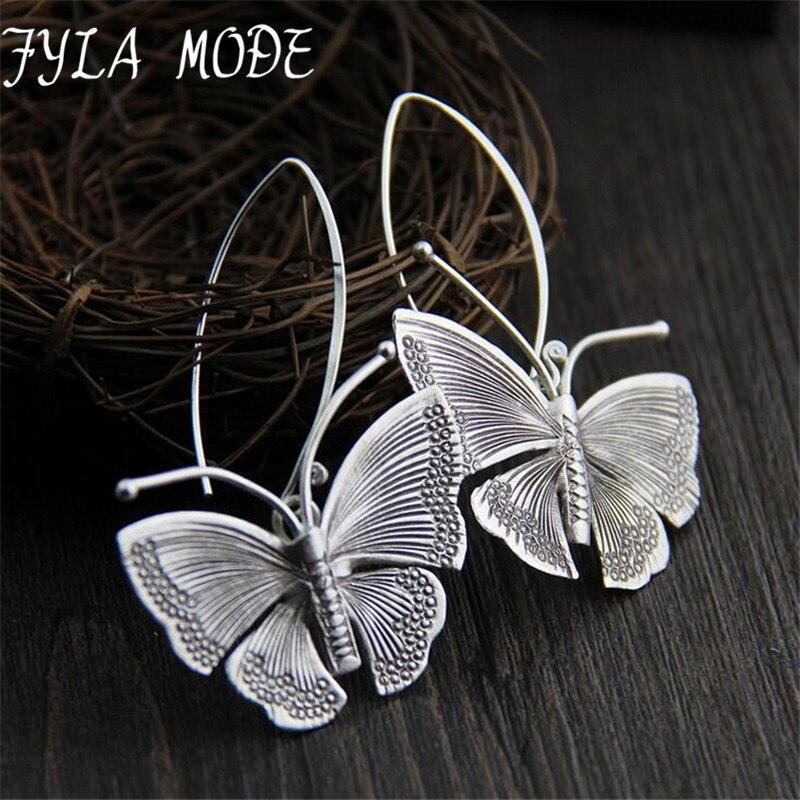 Fyla Mode Women Dangle Earrings Butterfly 925 Silver Drop Earring Engagement Jewelry 43*30MM 11G WTH002