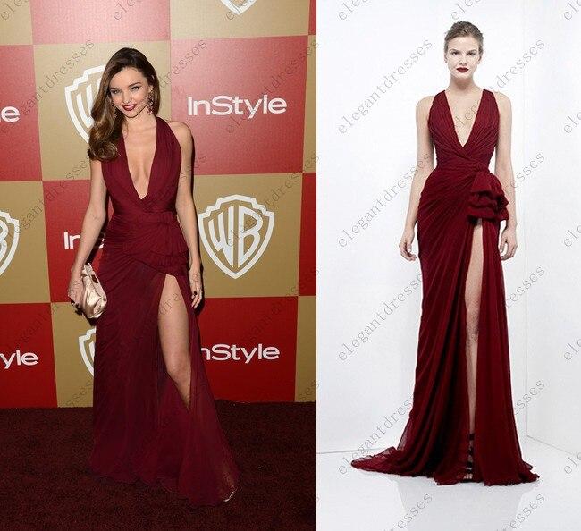 Fashion Trend V Neck High Slit Long Chiffon Famous Celebrity ...