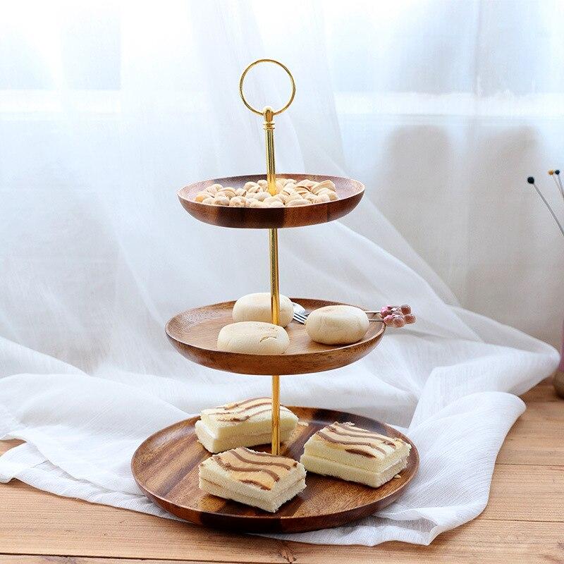 Plateau de service fruits noix bonbons | Assiette de fruits nordique en bois à trois niveaux multicouches Snacks gâteaux noix bonbons fête Restaurant Bar fourniture maison - 2