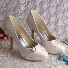(20 Colors)Custom Handmade Women Ivory Wedding Shoes High Heels Euro Size 34-42