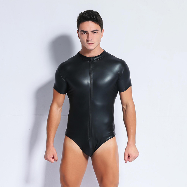 Sexy Men Black Patent Leather Front Zipper Stretchy Male Bodysuit Catsuit  Teddy Lingerie Jumpsuit Night Clubwear Erotic Costumes