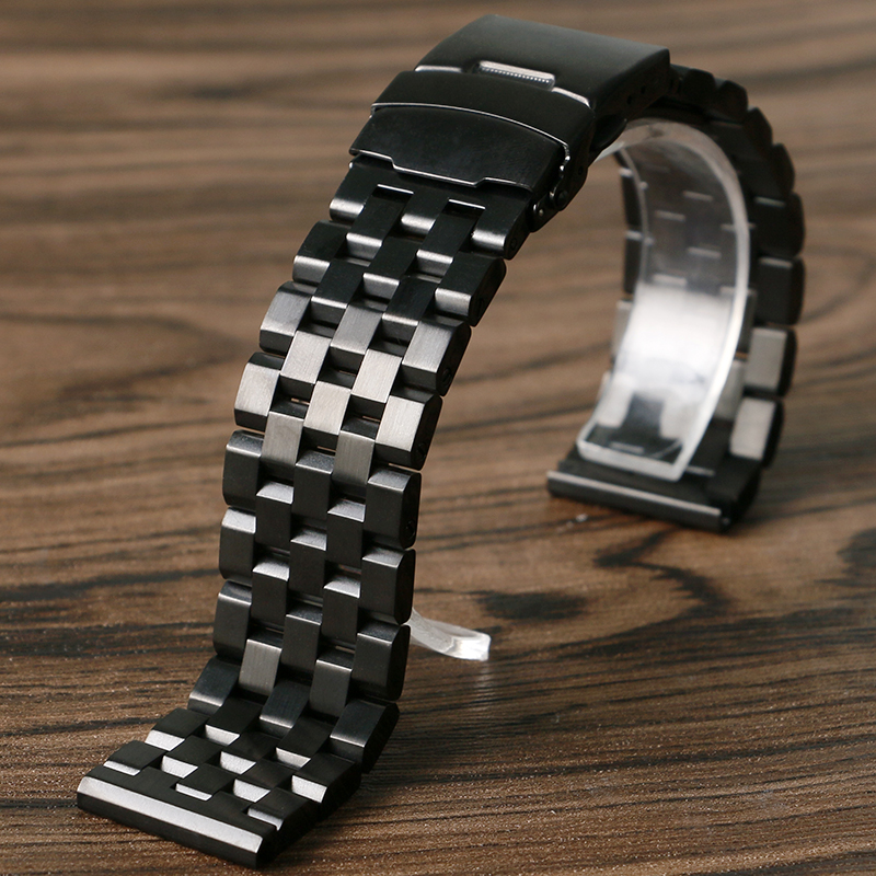 24mm Black Stainless Steel Bracelet Wrist Band Watch Strap Solid Link Folding Buckle High Push Button Men Replacement Watchband stylish 8 led blue light digit stainless steel bracelet wrist watch black 1 cr2016