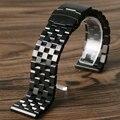 24mm Negro Correa de Reloj de Pulsera Banda de Acero Inoxidable Sólido Enlace Plegable Hebilla Botón Hombres Correa de Reemplazo