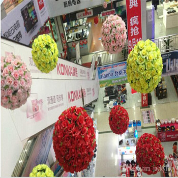 8 Inch Wedding Silk Flowers Ball Pomander Kissing Balls Wedding Decorations Artificial Roses ball For Garden Market Party Decor