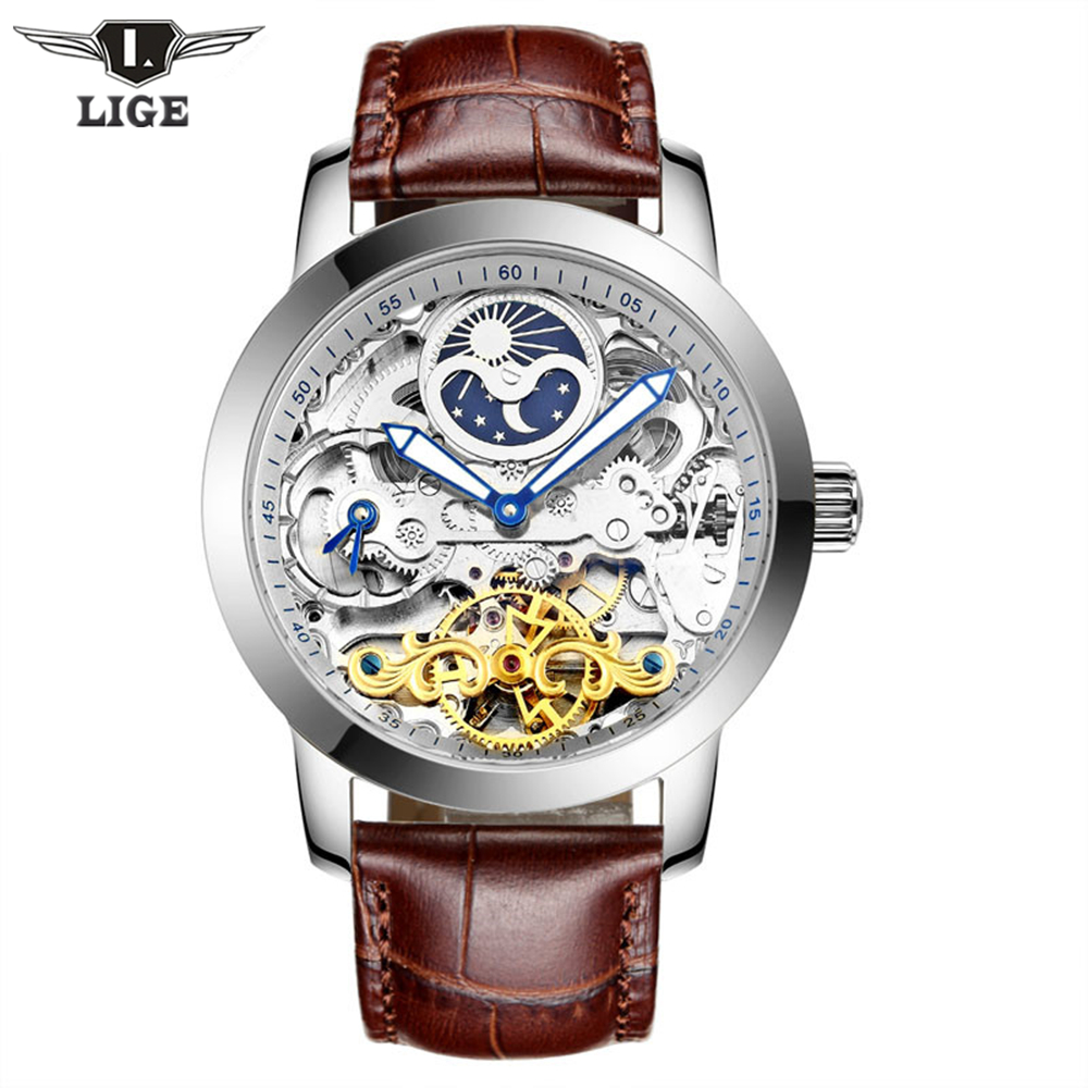 LIGE Brand Men Watches Moon Phase Tourbillon Hollow Automatic Watch Waterproof Casual Leather Wrist watches Relogio Masculino brand classical fashion business casual watch men s automatic self wind wrist watches tourbillon moon phase hollow out calendar