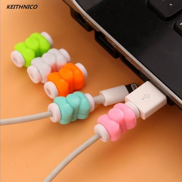 KEITHNICO 10pcs Bow Charger Cable Protector Saver Cover USB Charging Line Data Protection Sleeve Cable Winder