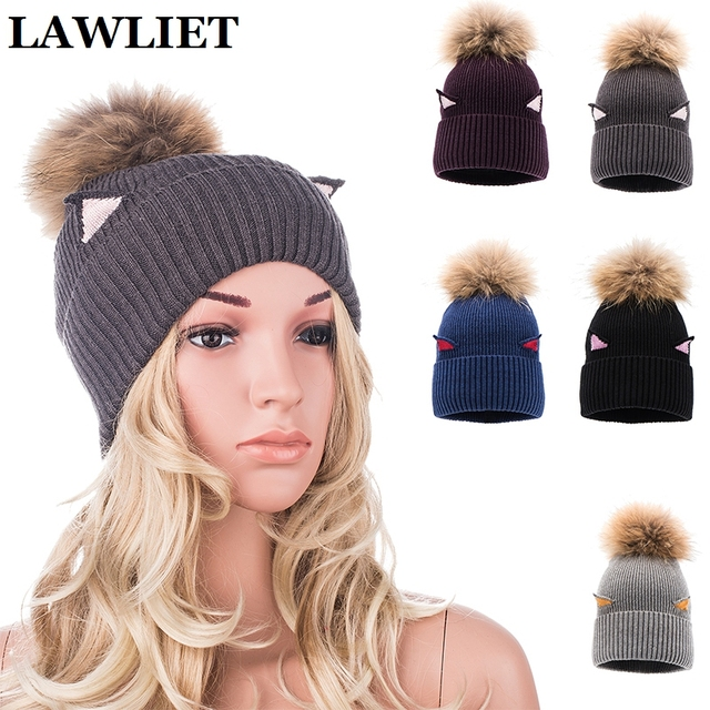 Cat Ear Meow Kitty Womens Winter Beanie Hat Female Cotton Knitted Fashion Young Girl Real Fur Pompon BallA396