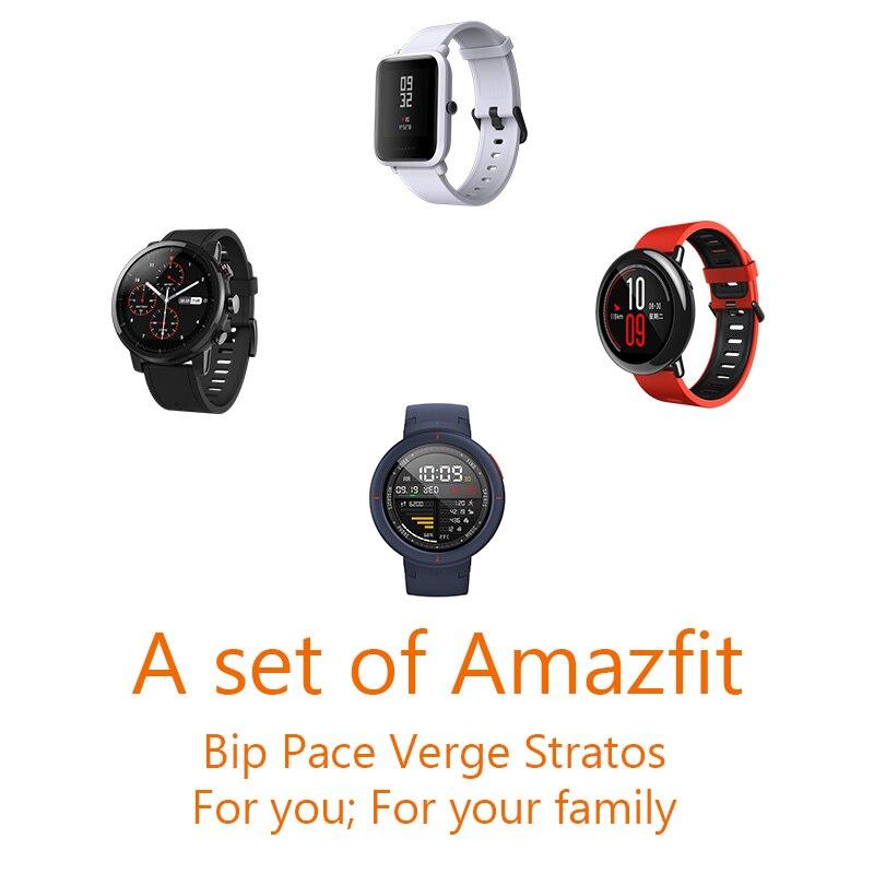 Un conjunto de productos Amazfit paquete Bip Pace Stratos y Verge