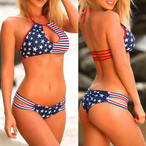 Women Plus Size Bikini Set American Flag Swimwear Women Push-up Bra Swimsuit Big Size Bathing Beach wear Sexy Biquini XS 3XL #5