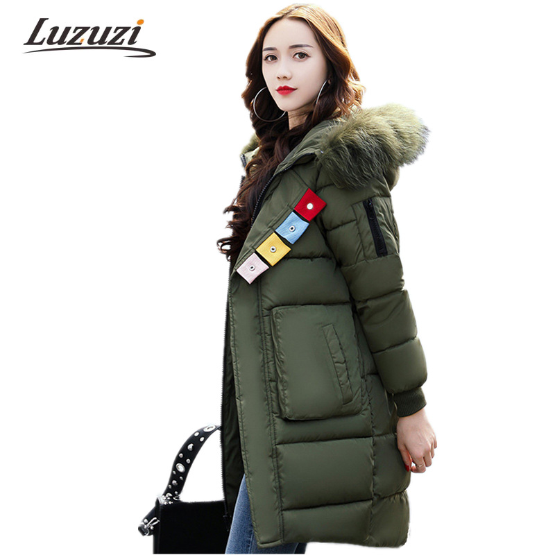 Women hooded Winter Coats 2017 New Long With Faux Fur Wide waist loose Parkas Female Down Cotton Padded Outwear Lady Coats WS892 2016 new women parkas faux fur collor three quarter sleeve female outerwears fashion loose woolen coats plusaf445
