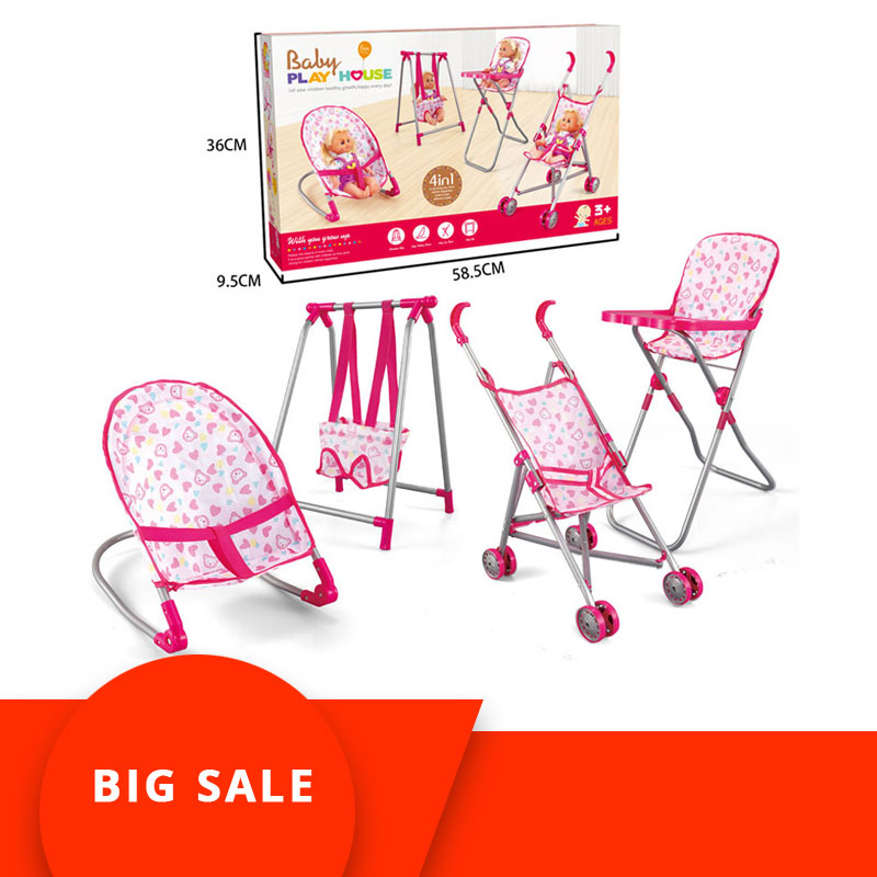 4 in 1 Baby Children Foldable High Dinning Chair Swing Chair Stroller Cot Bed Dolls Toys Set Gift box Pretend Play funiture Toys4 in 1 Baby Children Foldable High Dinning Chair Swing Chair Stroller Cot Bed Dolls Toys Set Gift box Pretend Play funiture Toys